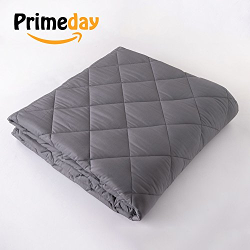 Finslep 2018 3.0 Breathable Cool Twill Cotton Weighted Blanket | Quick Sleep Therapy for People with Anxiety, Autism, ADHD, Insomnia or Stress | Small Diamond Pattern Blanket (Grey 48