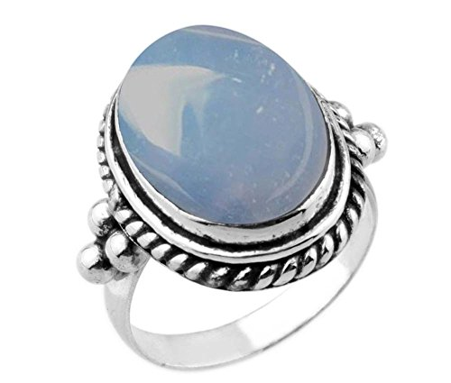 8.90ctw,Genuine Chalcedony 12x16mm Oval & .925 Silver Plated Handmade Ring (Size-7)