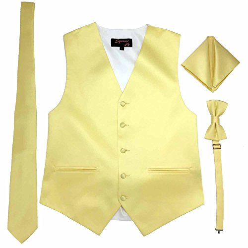 Spencer J's Men's Formal Tuxedo Suit Vest Tie Bowtie and Pocket Square 4 Peace Set Verity of Colors (2XL (Coat Size 52-55), Yellow)