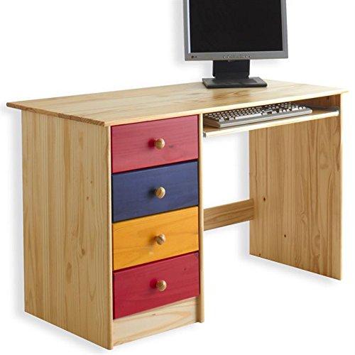 IDIMEX Bureau enfant multi rangements MALTE, tiroirs et support clavier pin massif multicolore