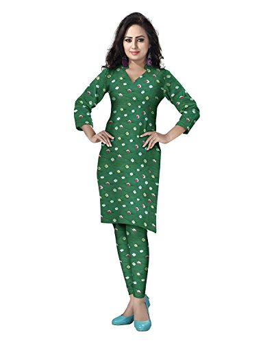 Sea Green Cotton Kameez (Banjara Women's Cotton Bandhani Unstitched Dress Material Free Size Sea)