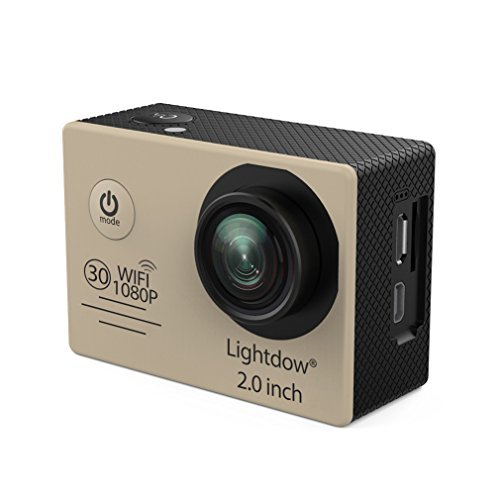 Lightdow LD6000 WiFi 1080P HD Sports Action Camera Kit - App Remote Control 30m Waterproof 2.0 Inch LCD Screen 170 Degree Wide Angle 2 Rechargeable Batteries and Mounting Accessories (Gold+WiFi)
