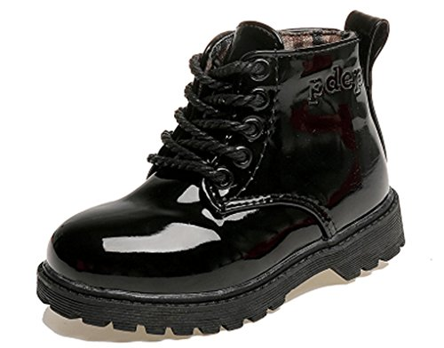 Pointss Boys Girls 5-Eyes Ankle Boot Patent Leather Fashion Boot Short Combat Boot Baby Boot High Skate Shoe