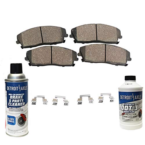 Detroit Axle- Pair FRONT Ceramic Brake Pads w/Hardware, Brake Fluid & Cleaner for Chevy/GMC Silverado/Sierra 2500 2500HD 3500 - [Suburban Avalanche 2500]