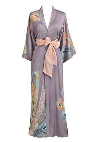 Old Shanghai Women's Kimono Robe Long - Watercolor Floral, Peacock Feather- Dusk