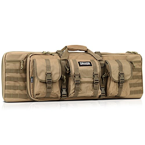 Sword Carrying Case - Savior Equipment American Classic Tactical Double Long Rifle Pistol Gun Bag Firearm Transportation Case w/Backpack - 36 Inch Flat Dark Earth Tan