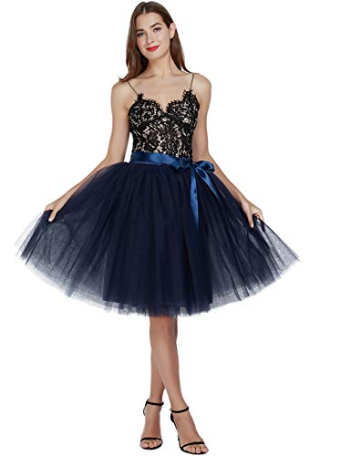 Women's High Waist Princess A Line Midi/Knee Length Tutu Tulle Skirt for Prom Party (Free Size, Navy Blue)
