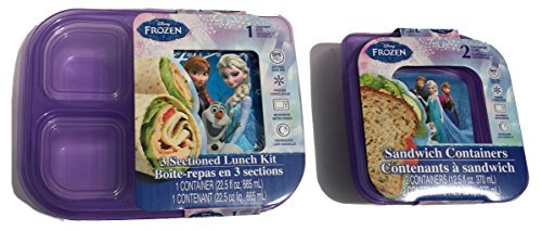 Frozen Sandwich Containers Sectioned Disney