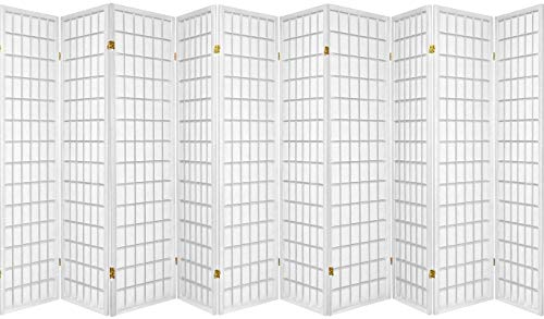 Legacy Decor 3, 4, 6, 5, 8 Panels Room Divider Screen Partition Shoji Style 6 ft Tall (10 Panel, White)