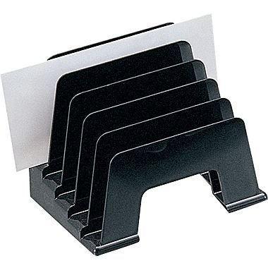 1InTheOffice Plastic Incline Desktop File Sorter, 5 Compartments, (Black Plastic Desktop)