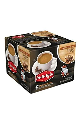 Indulgio English Toffee Cappuccino Single Serve K-cup, 42 Count.