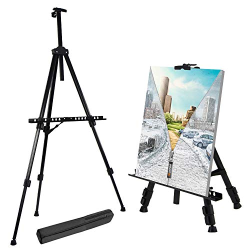 T-SIGN 66 Inches Reinforced Artist Easel Stand, Extra Thick Aluminum Metal Tripod Display Easel 21 to 66 Inches Adjustable Height with Portable Bag for Floor/Table-Top Drawing and Displaying ()