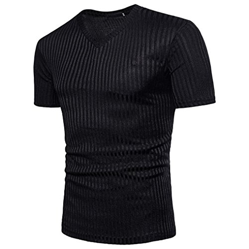 GREFER Men Blouse Short Sleeve Fit Pollover Shirt V Neck Causal Top T-Shirt (XL, Black) ()