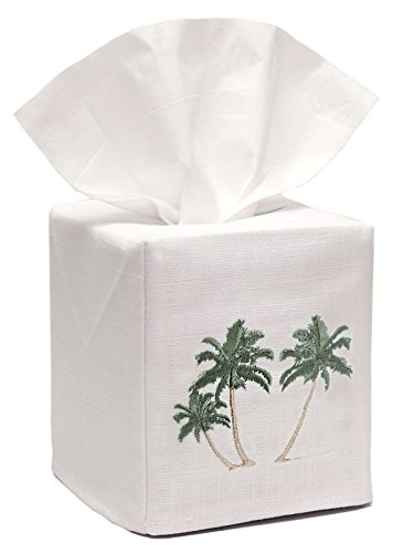 Jacaranda Living Linen/Cotton Tissue Box Cover, Three Palm Trees
