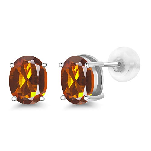 - 2.20 Ct Oval 8x6mm Orange Red Madeira Citrine 14K White Gold Stud Earrings
