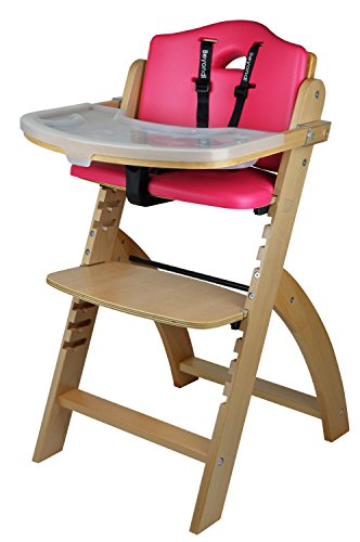 Abiie Beyond Wooden High Chair with Tray. The Perfect Adjustable Baby Highchair Solution for Your Babies and Toddlers or as a Dining Chair. (6 Months up to 250 Lb) (Natural Wood – Red Cushion)