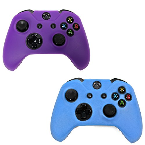 HDE-2-Pack-Protective-Silicone-Gel-Rubber-Grip-Skin-Cover-for-Xbox-One-Wireless-Gaming-Controllers-Blue-Purple
