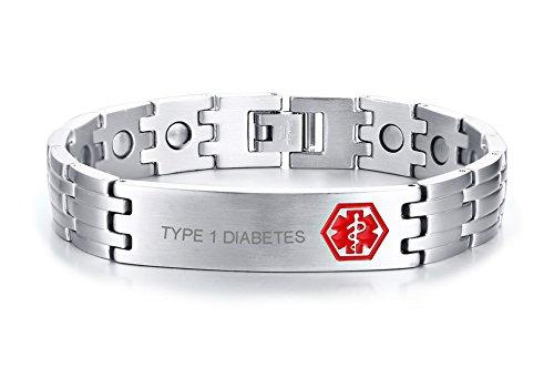 VNOX Type 1 Diabetes Medical Alert ID Stainless Steel Powerful Neodymium Magnet Therapy Adjustable Bracelet