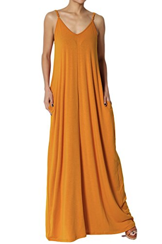 TheMogan Women's V-Neck Draped Jersey Cami Long Maxi Dress with Pocket D. Mustard L