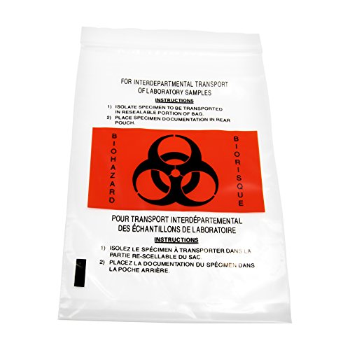 Bilingual Hazard Warning Labels (MARATHON MD030196 Hospital Grade Specimen, Biohazard, Lab, Clear Bag With Outside Pocket, Polyethylene - 6 x 9 Inch (50))