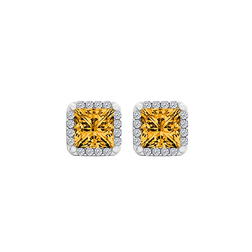 Radiant Citrine and CZ Square Halo Stud Earrings Gold