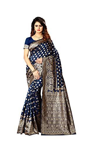 k Saree Indian Wedding Ethnic Sari & Unstitch Blouse Piece PARI 22 (Navy Blue) ()