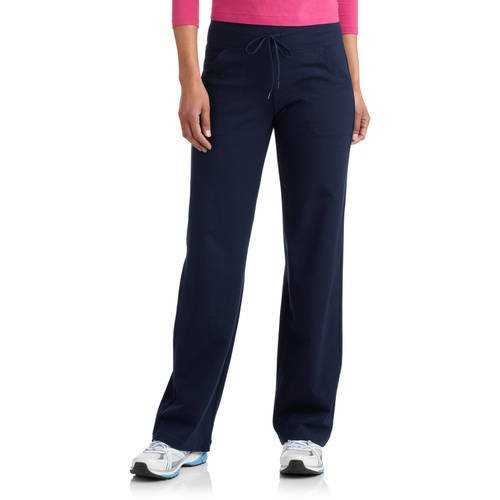 Womens Polyester Athletic Pant (Womens Regular Relaxed Fit Dri-more Core Cotton Blend Yoga Pants (M, Navy Blue))