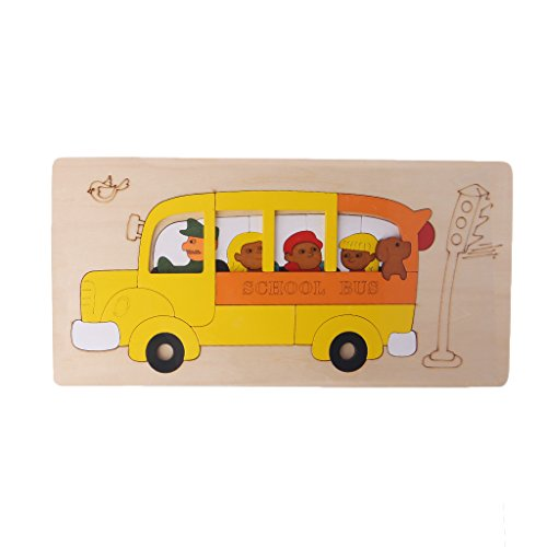 Timberlark Wooden Cartoon Multilayer Jigsaw Puzzle Kids Children Educational Toy Gift-School Bus
