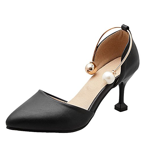Dress Sexy Carolbar Beaded Black Chic Toe Women's Heel High Shoes Pointed UBHH8qOw5x