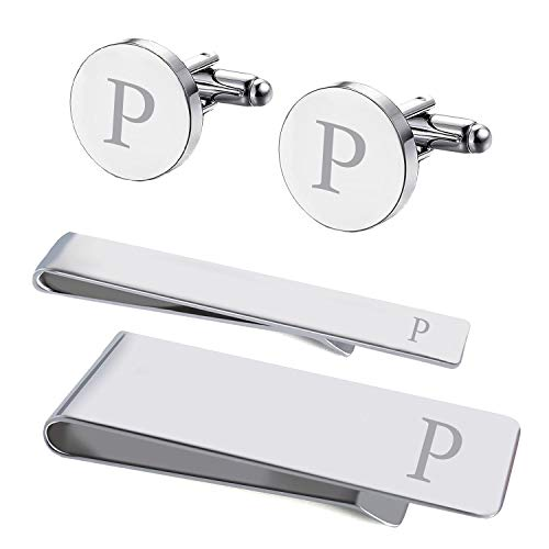 BodyJ4You 4PC Cufflinks Tie Bar Money Clip Button Shirt Personalized Initials Letter P Gift Set