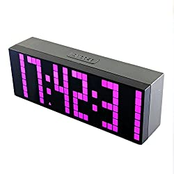 BestOpps Digital Large Big Jumbo LED Snooze Wall Desk Alarm Clock with Thermometer Calendar Indoor Clock (Pink)