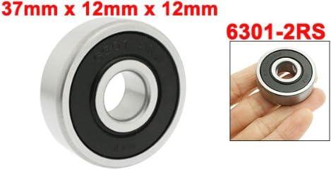 sourcing map 37mm x 12mm x 12mm geschirmt Rillenkugel Ball Lager 6301-2RS Metall Silber Ton DE de