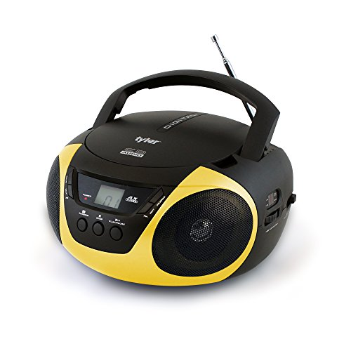 Tyler Portable Sport Stereo CD Player TAU101-YEL with AM/FM Radio and Aux & Headphone Jack Line-In (Yellow) (Cd Player Aux In)