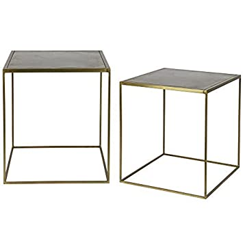 Lounge Zone Set Von 2 Seite Tische Couchtisch Wohnzimmer Tisch Sets Metallic Metall Messing
