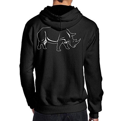 メンズ 後ろ印刷 パーカー スウェットシャツ サイ 犀 大人気 登山 長袖 カジュアル フード付き プルオーバーパーBlack