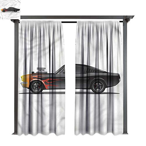 (cobeDecor UV Protectant Indoor Outdoor Curtain Panel Cars Retro Supercharger Vehicle for Lawn & Garden, Water & Wind Proof W120 xL96)