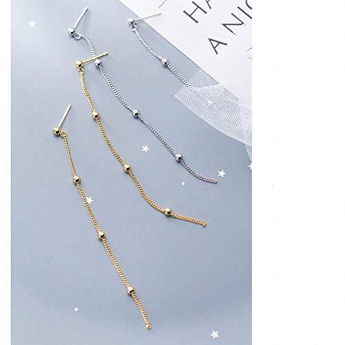 (K-earings S925 Silver Earrings Female Simple Light Beads Small Peas Sweet Long Ear Jewelry, Gold)