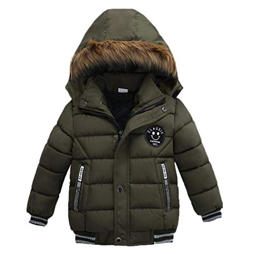 (Goodkids Toddler Boys Down Jacket Winter Jacket Hooded Thickened Warm Snowsuit Coat Parka Outerwear (Khaki)