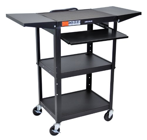 Luxor AVJ42KBDL Height Adjustable  Steel AV Cart with Pullout and Drop ()