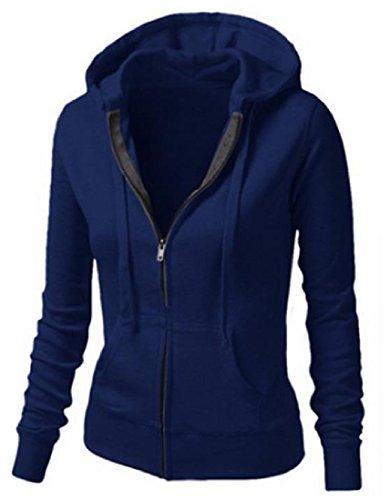 Cardigan Hooded Zip Full (Abetteric Women's Long Sleeve Hooded Full-Zip Drawstring Slim Fit Cardigan Blue M)