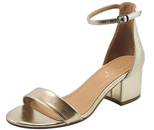 Betani Women's Strappy Open Toe Block Heeled Sandal (6 B(M) US, Gold)