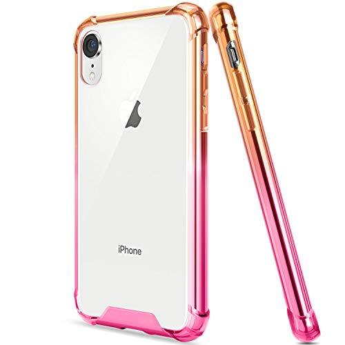 - Salawat Compatible iPhone Xr Case, Clear iPhone Xr Case Cute Anti Scratch Slim Phone Case Cover Reinforced Corners TPU Bumper Shockproof Protective Case for iPhone Xr 6.1inch 2018 (Yellow Pink)