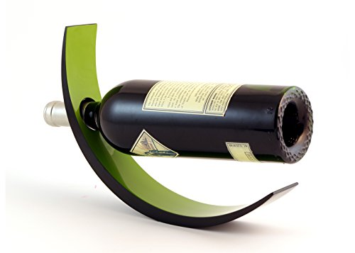 Green Wine Racks (ARC Lacquer Wood Wine Bottle Holder - Balances Wine in the Air, Two Tone Green & Black)