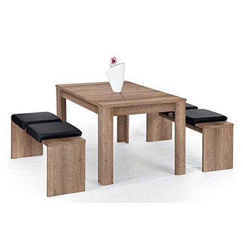 Lübeck Bank-Set Canyon Grey mit 1 Tisch (140 x 90 cm) und 2 Bänken (à 130 x 37 cm)