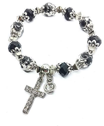 (Nazareth Store Religious Cross Bracelet Christian Classic Beaded Bangle with Black Crystal Beads Sacred Gift for Teen Girls Jewelry for Women & Men)