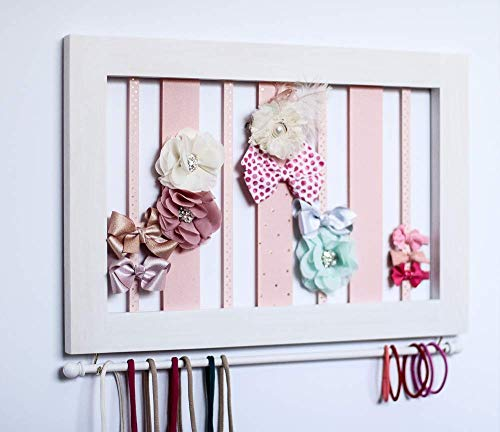 CUSTOM Hair Clip Bow Organizer & Headband Holder/Wood Ribbons Hooks/Large Organizer Handmade/High Quality/Nursery Girls Room Decor/Light Gray or White or Pink Frame Option