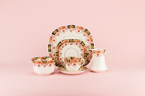 4 Persons Medium Bone China TEA SET Creamer Saucer Neo-Classical Floral Garlands Orange Cup Plate English Circa 1910 LS