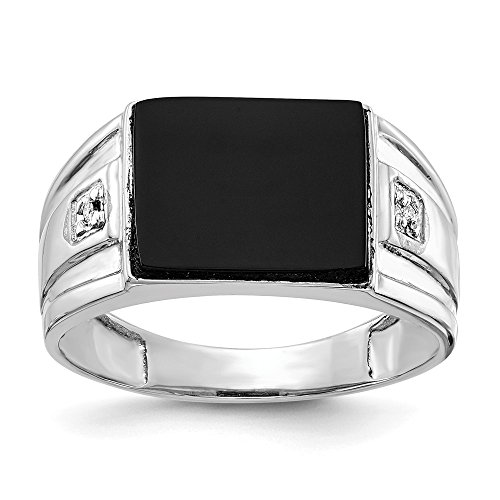 (14k White Gold Diamond Mens Band Ring Size 10.00 Man Fine Jewelry Gift For Dad Mens For Him)