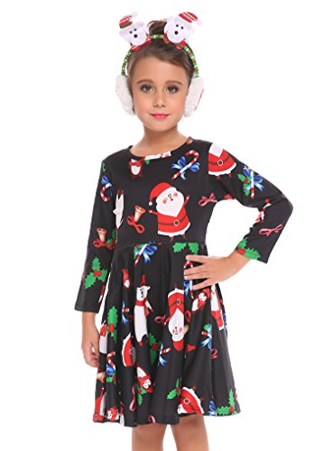 Arshiner Kids Little Girls Christmas Dress Santa Reindeer Snowflake Tree Xmas Gifts A-line Dress Pattern 120(Age for 6-7Y)