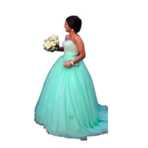 Green Beaded Women's Mint Gown Wedding Prom Long For Bride Ball Chupeng Dresses Quinceanera 7TyqHU7
